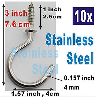 10x Hook Stainless steel 3 inch